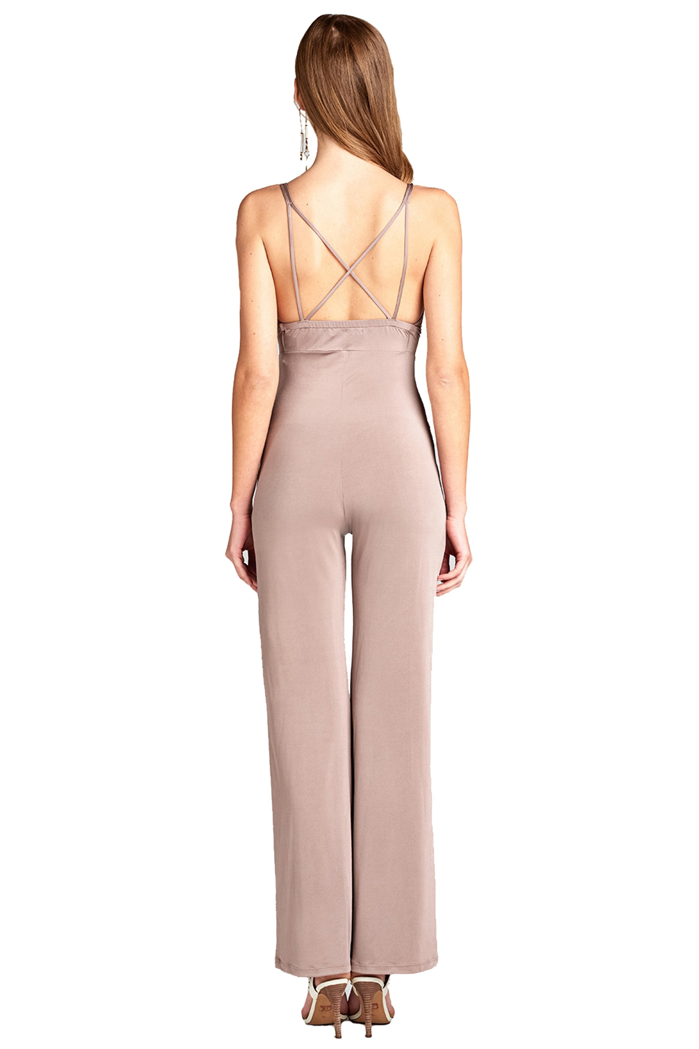 V Neck With Back Cross Strap Long Wide Palazzo Leg Stretchy Jumpsuit