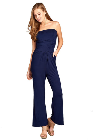 Khanomak Women's Tube Top Long Wide Leg Spandex Stretch Jumpsuit