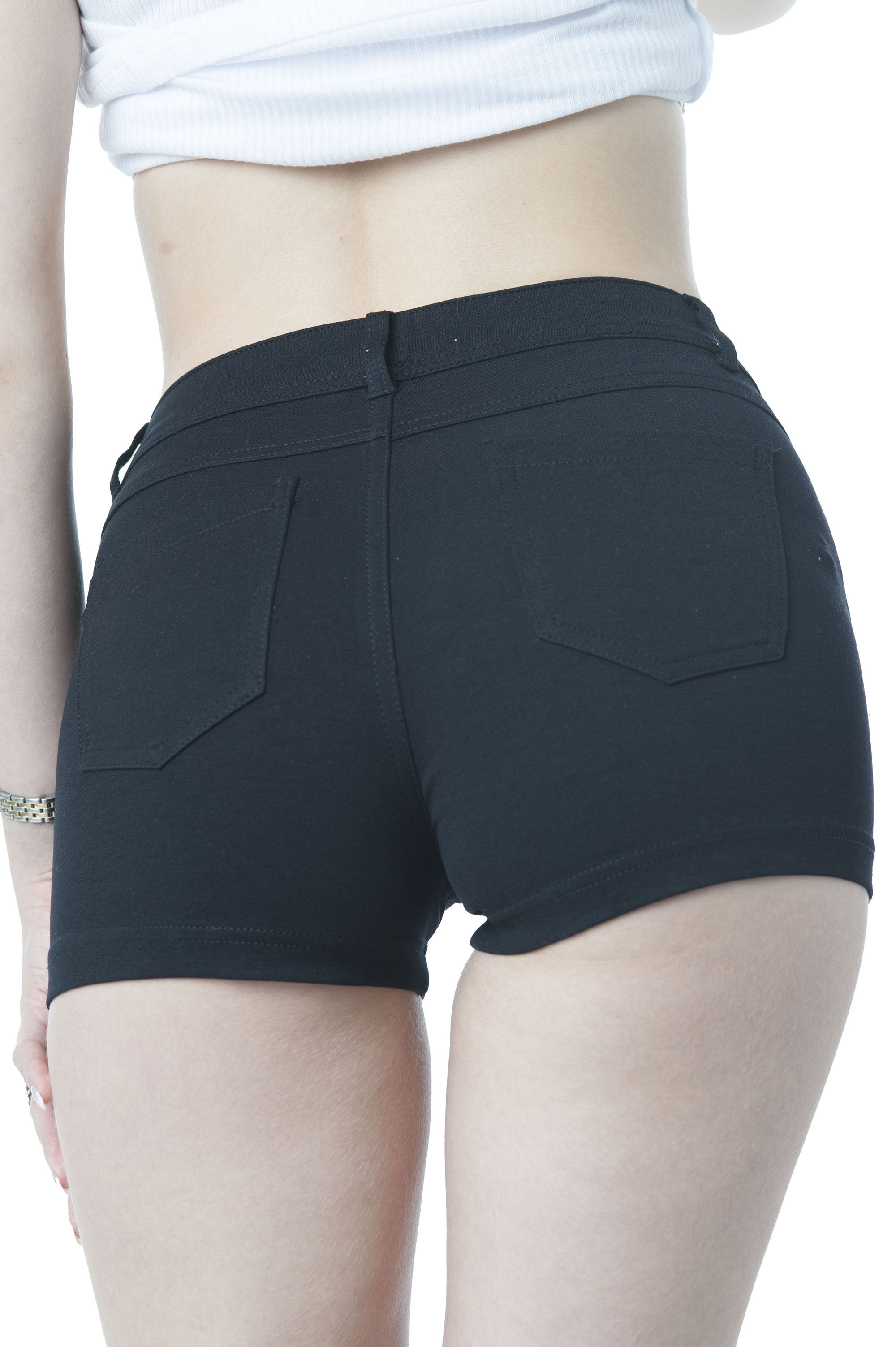 Solid 5 Pocket Spandex Short Pants