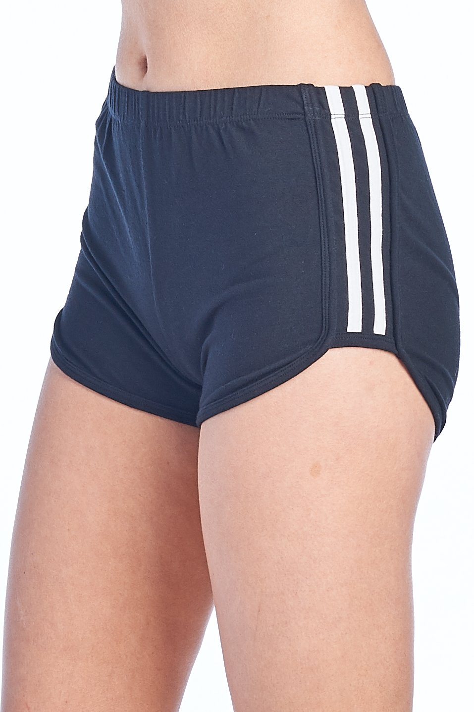 Women's Casual Basic Stretch Elastic Waist Double Stripe Dolphin Shorts