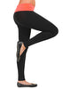 Tight Fit Color Fold Over Waist Cotton Yoga Pants Leggings Full Length