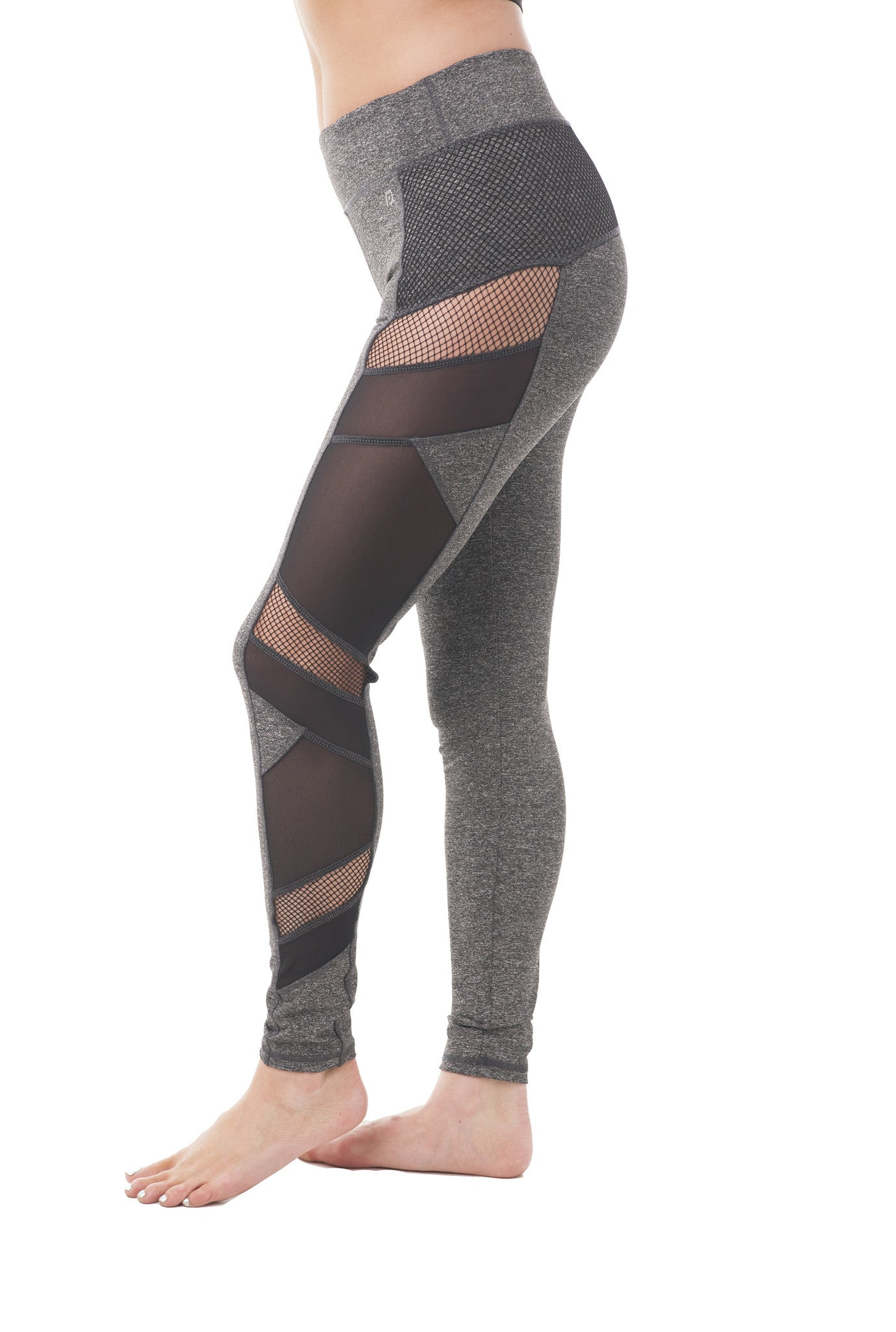 Fishnet Mesh Side Detail Active Wear Leggings