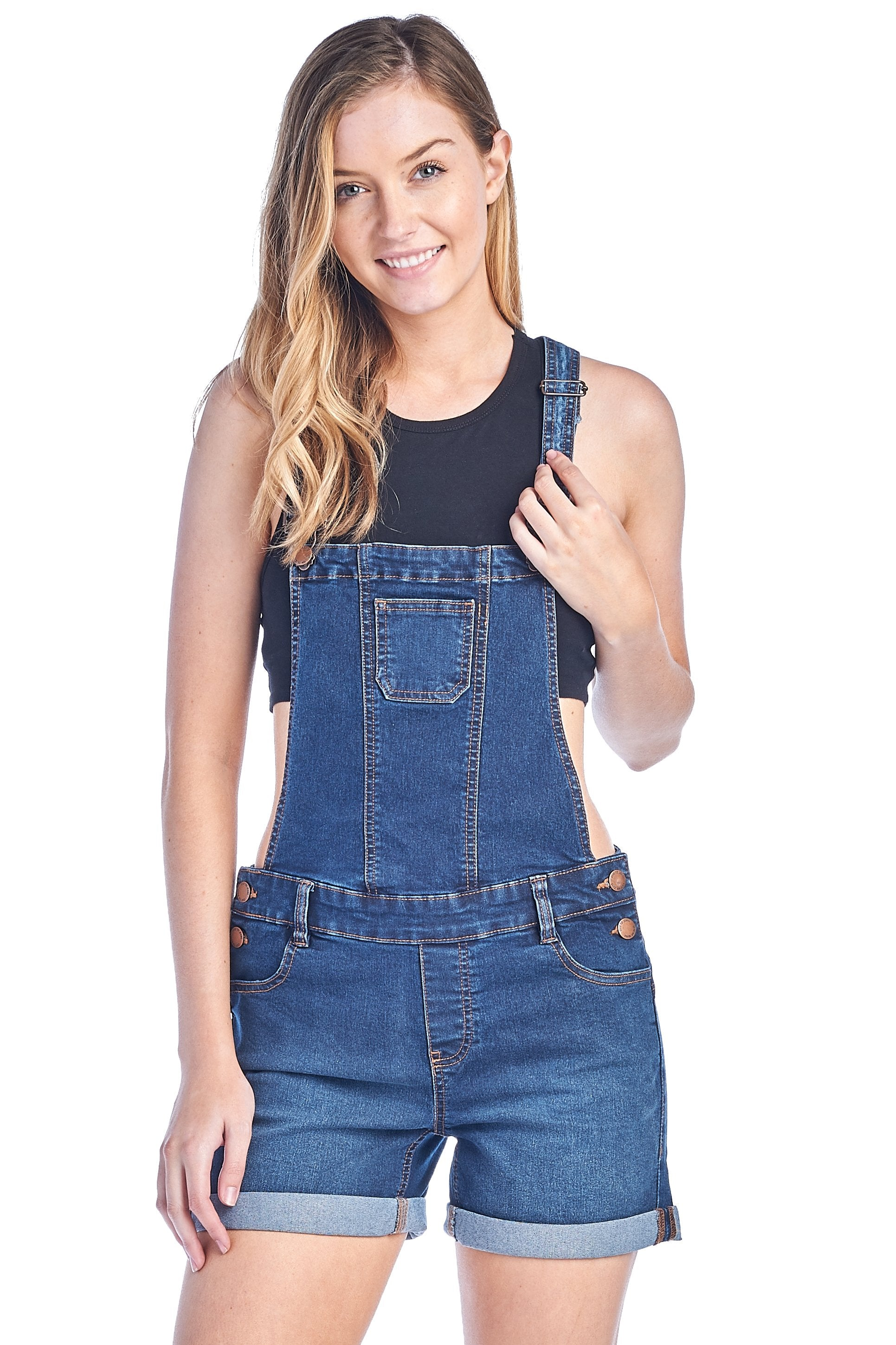 Women's Casual Cotton Stretch Denim Jean Push Up Shortall Shorts Overalls