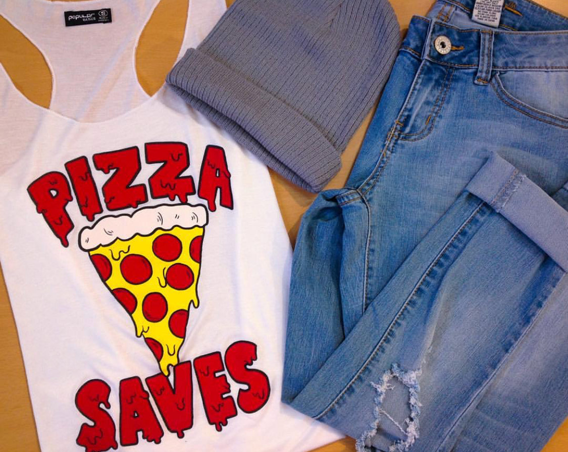 Sleeveless Tank Top Graphic Tees Pizza Saves