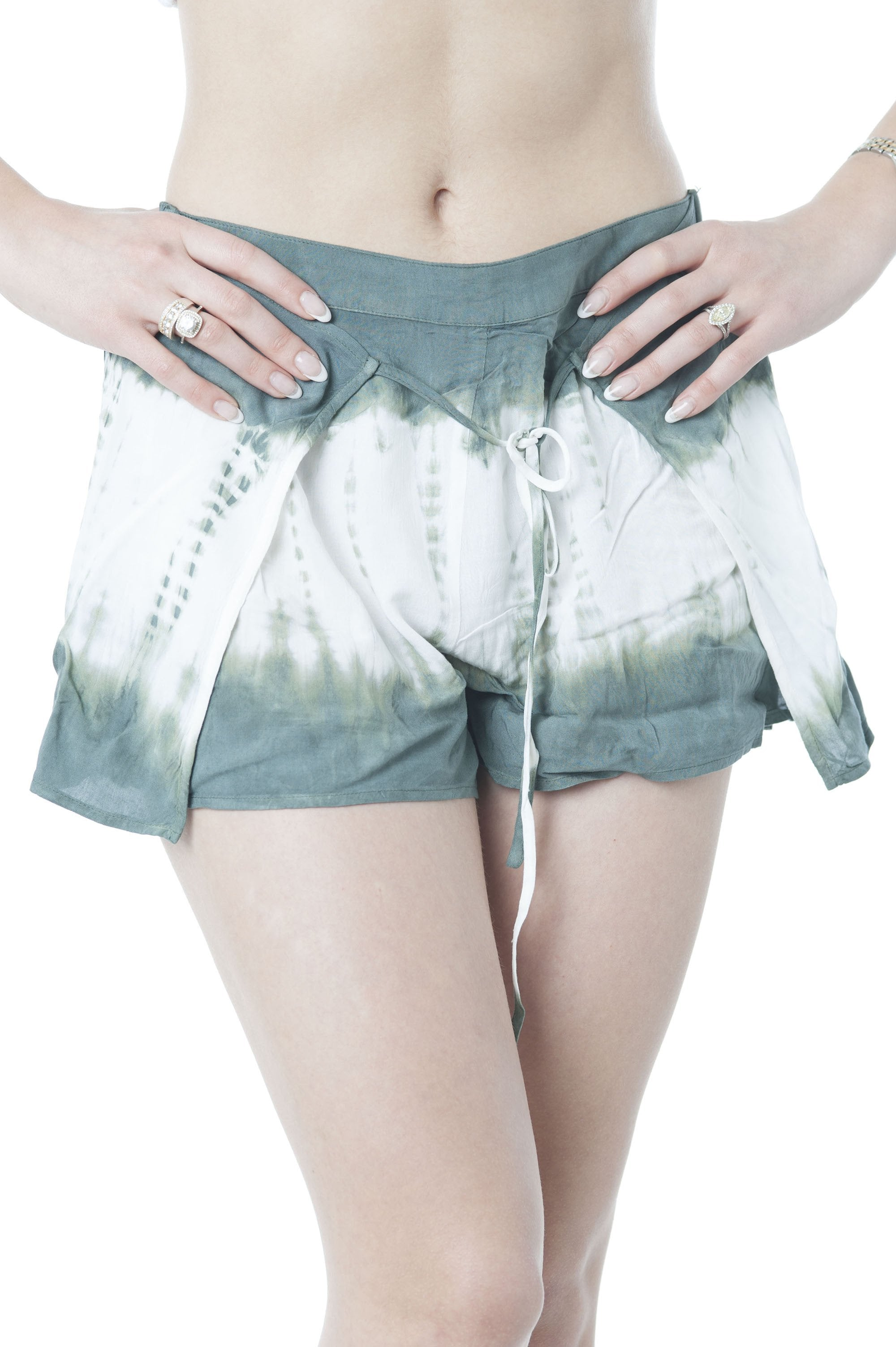 Front Covered Tie Dye Chiffon Shorts