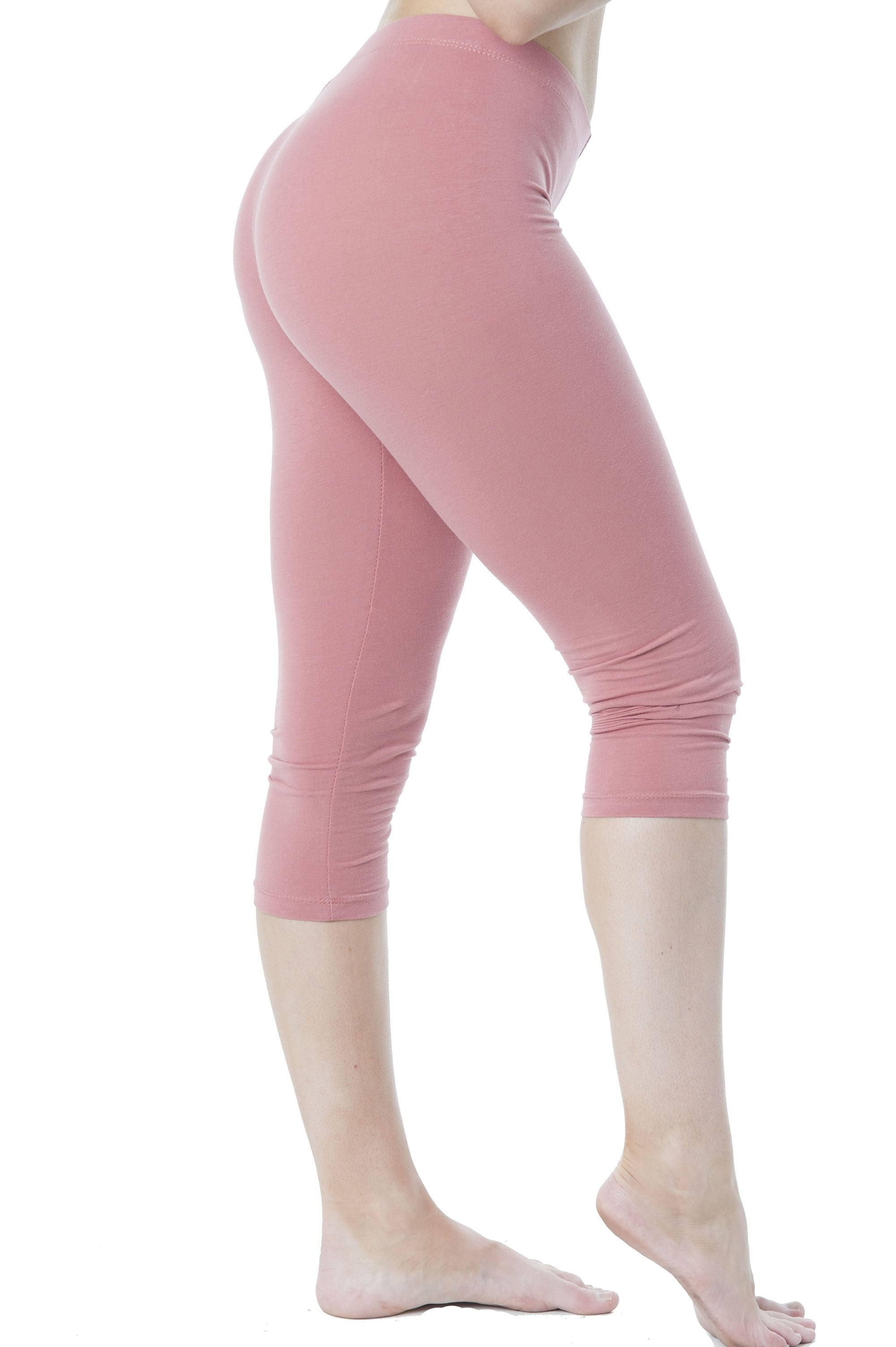 Stretch Cotton Capri Crop Seamed Leggings Tights