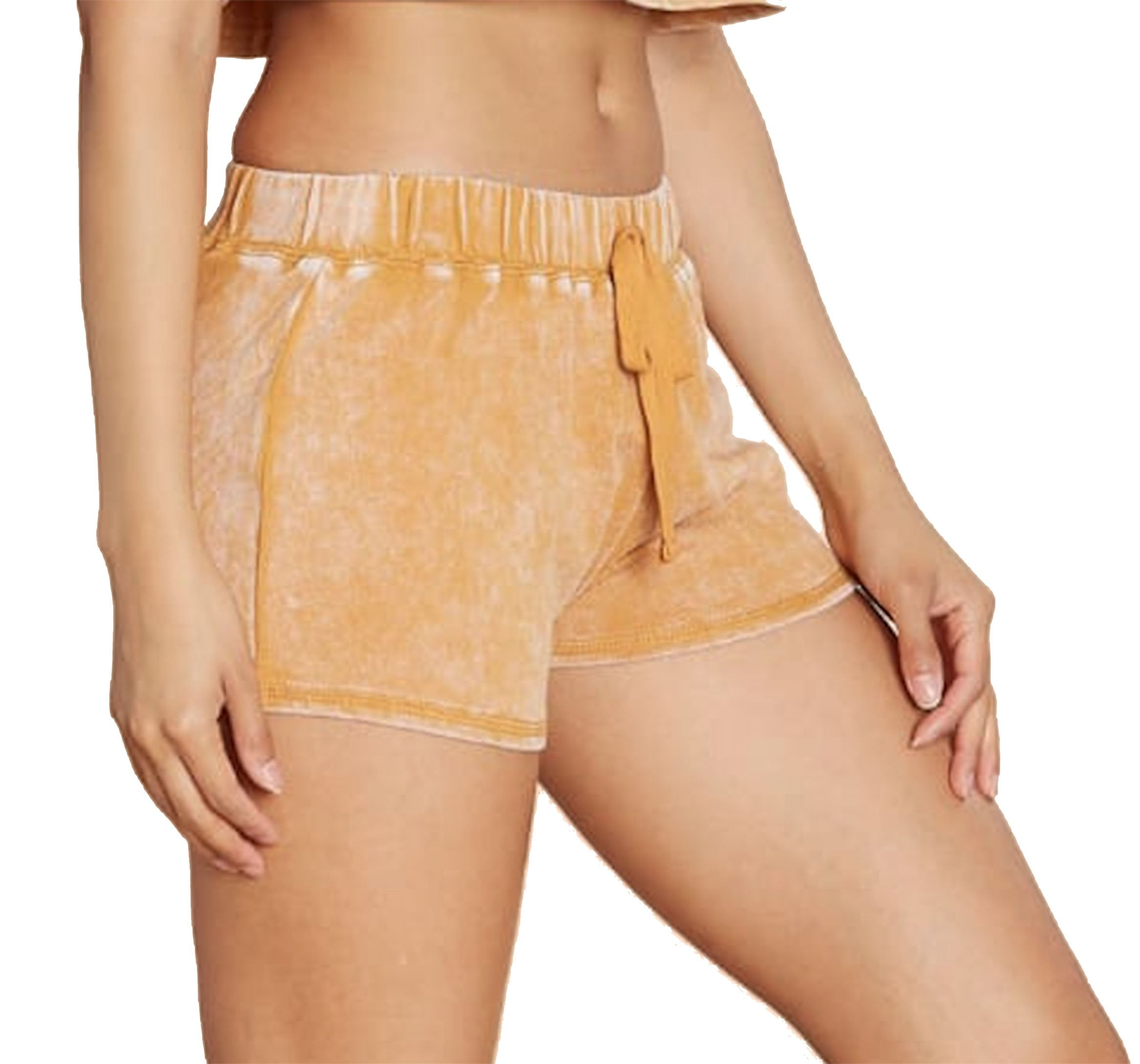 Khanomak Women's Mineral Wash Stretch Elastic Self Tie Drawstring Waist Terry Casual Shorts