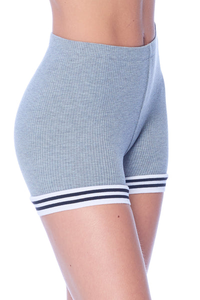 Khanomak Women's Workout Stretch Fitted Ribbed Sport Stripes Shorts
