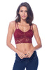 Khanomak Women's Lace Padded Bra Mesh V neck Style Empire Waist Crop Top