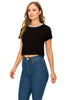 Women's Short Sleeve Slim Fit Sexy Round Neck Black Blouse Crop Top - Small