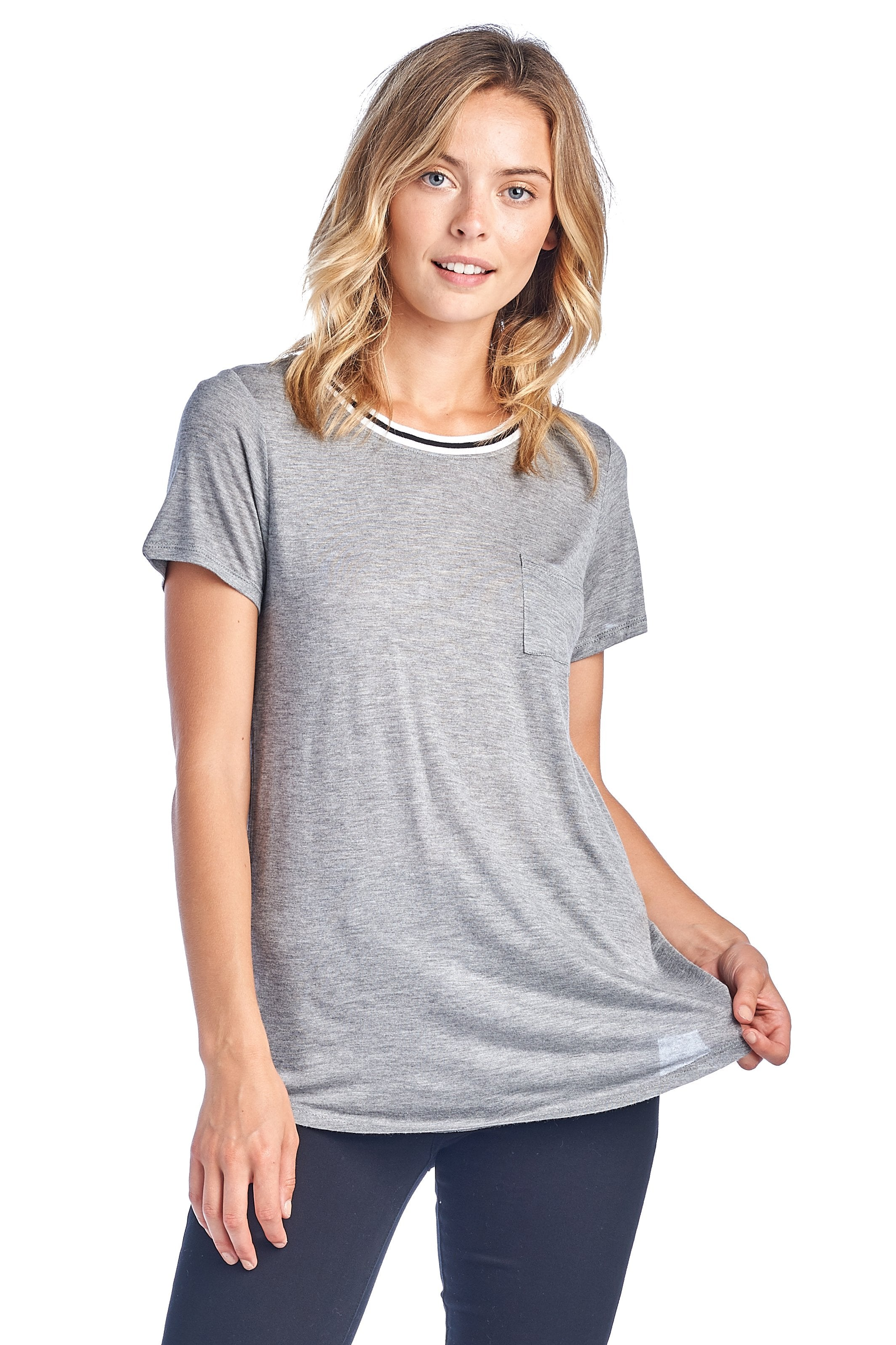 Women's Short Sleeve Crewneck Stripe Trim With Pocket Ringer Loose Fit Casual Basic Tee T-Shirt