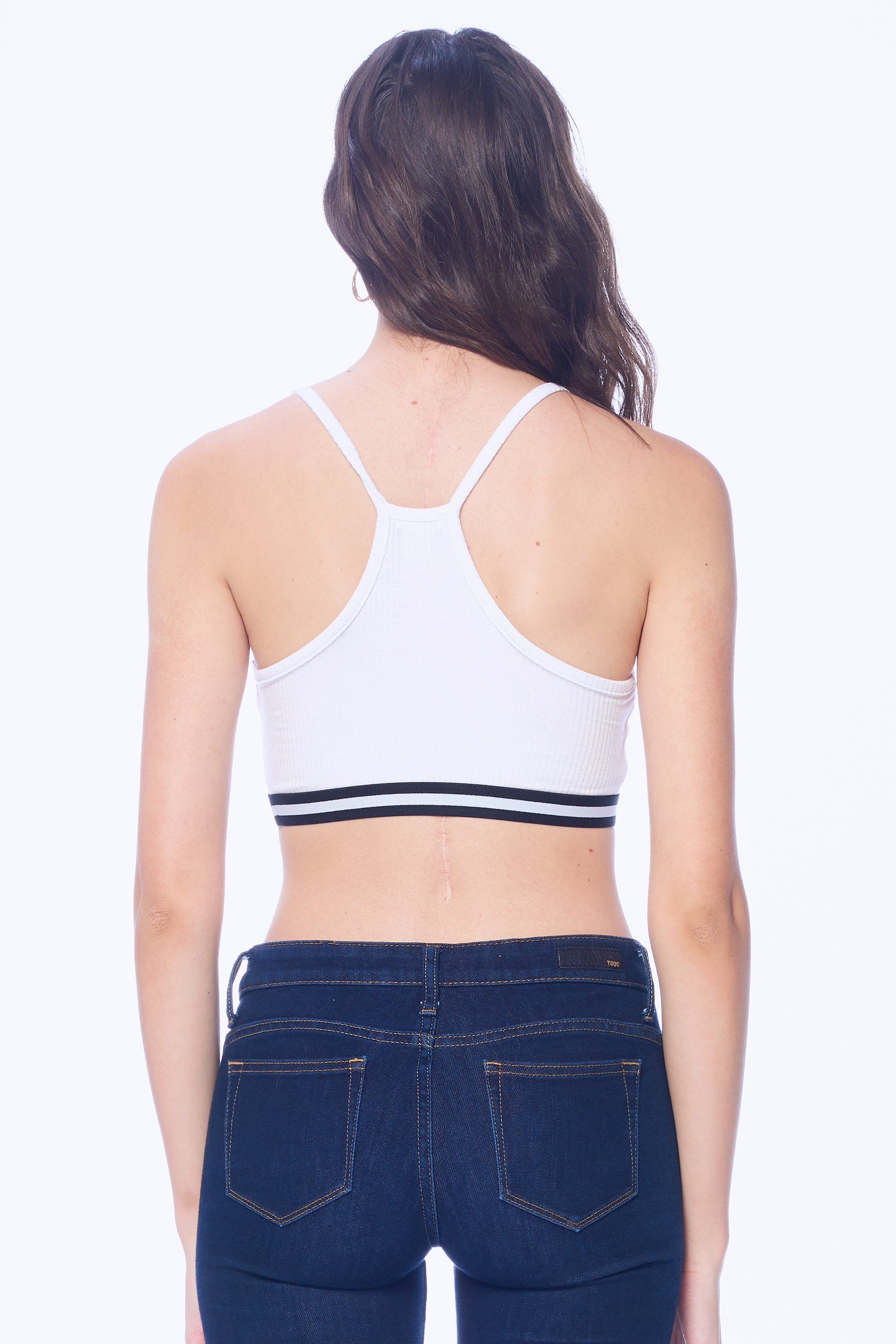 Khanomak Women's Ribbed Active Workout Sports Bra Racer Back Crop Top