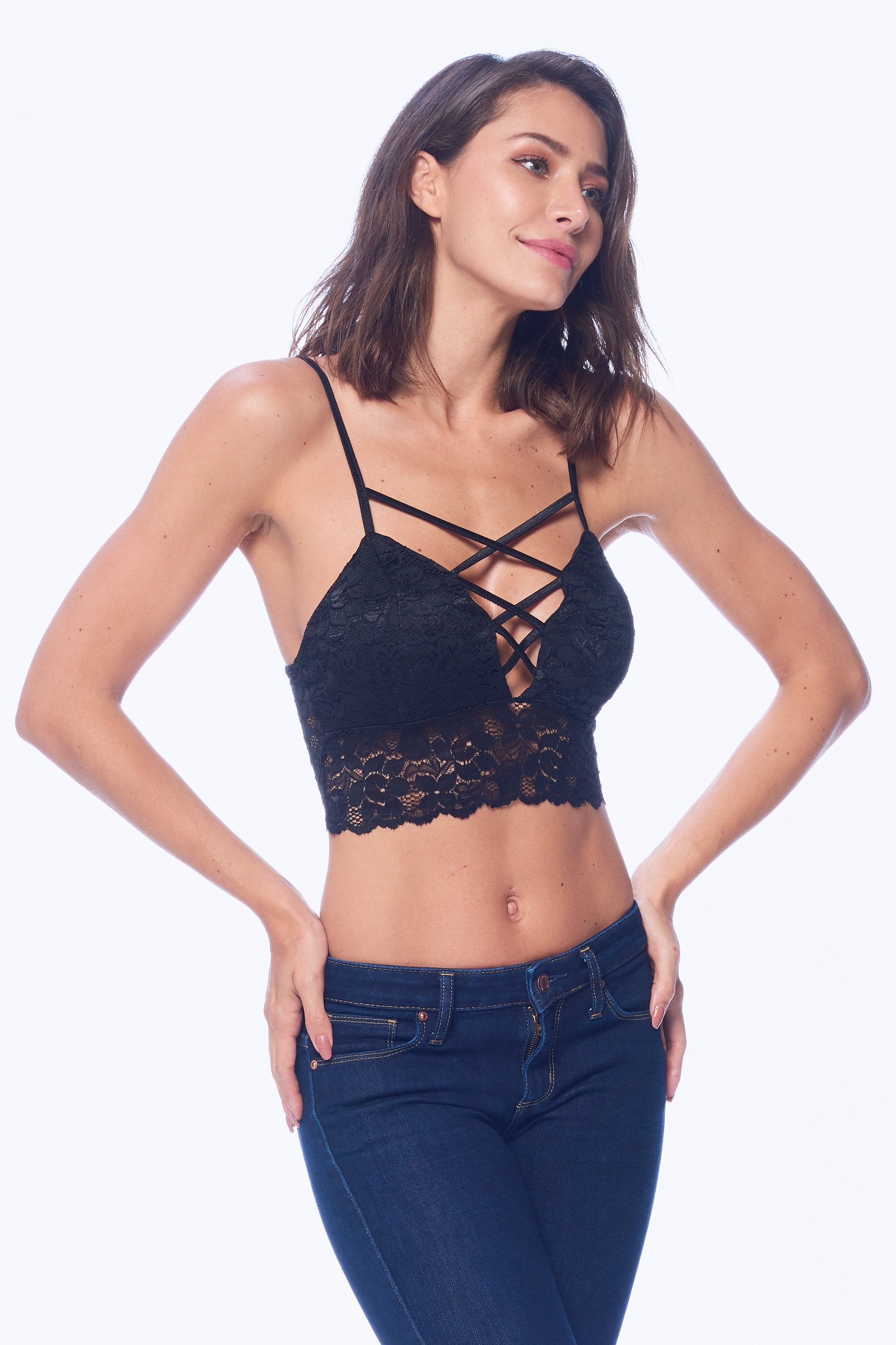 Khanomak Women's Lace Padded Bra lace-up Cutout strappy Style Crop Top