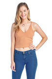 Women's Cami Spaghetti Strap V Neck X Cross Back Ribbed Crop Top