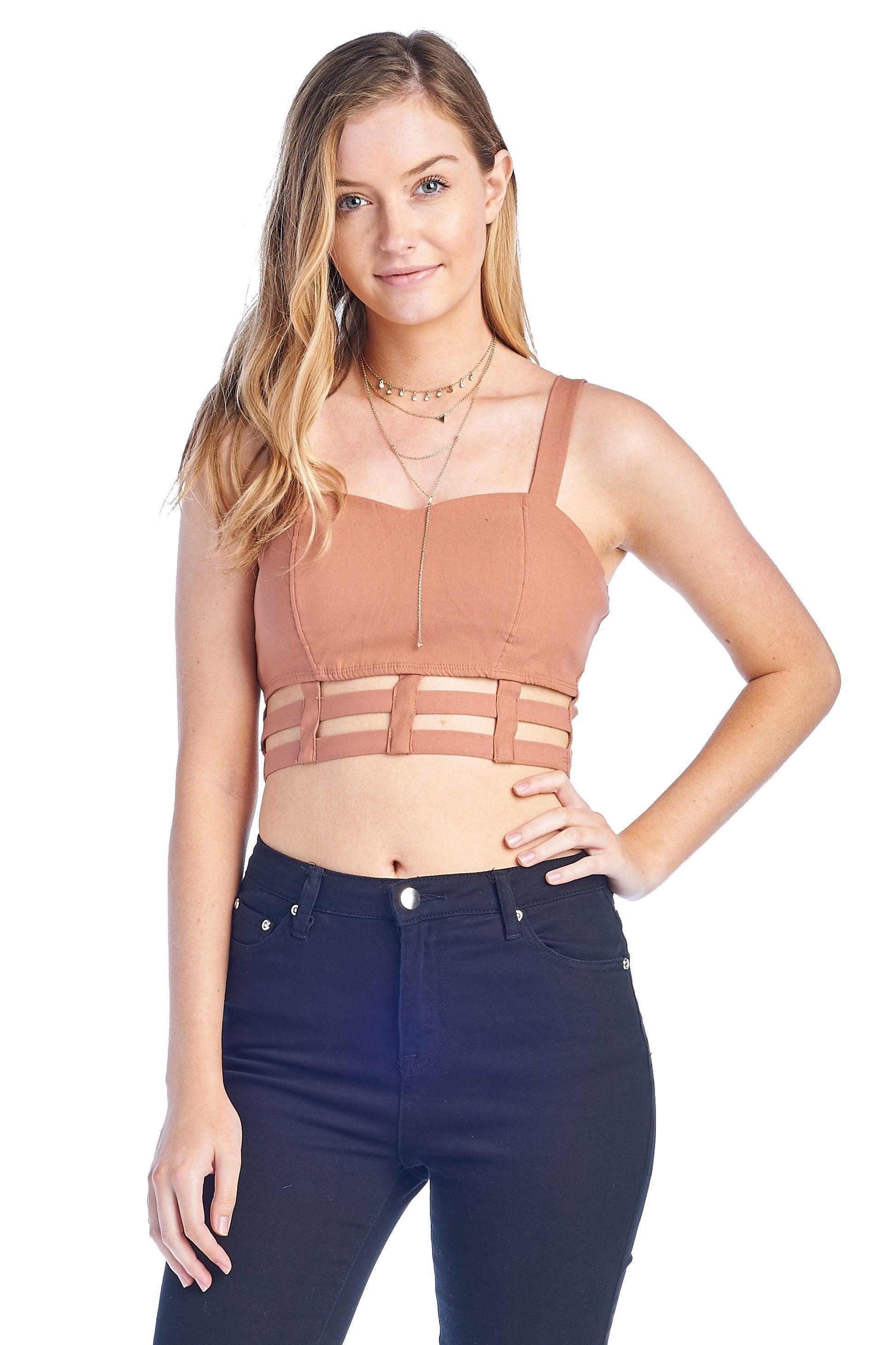 Women's Sleeveless Tank Caged Detail Stretch Sweet Heart Neckline Bustier Bralette Corset Crop Top