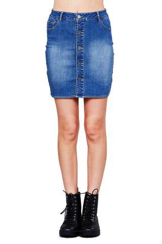 Khanomak Women's Button Front Denim Washed 5 pockets Mini Short Skirt