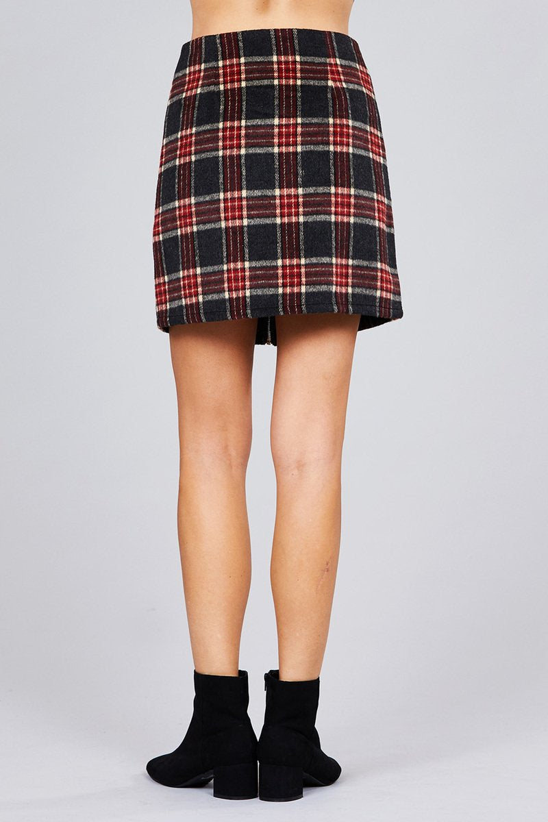 Khanomak Women's Front O Ring Zipper Detail Plaid A-Line Mini Skirt