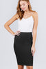 Women's Pencil High Waist Knee Length Casual Ribbed Black Knit Skirt - Small
