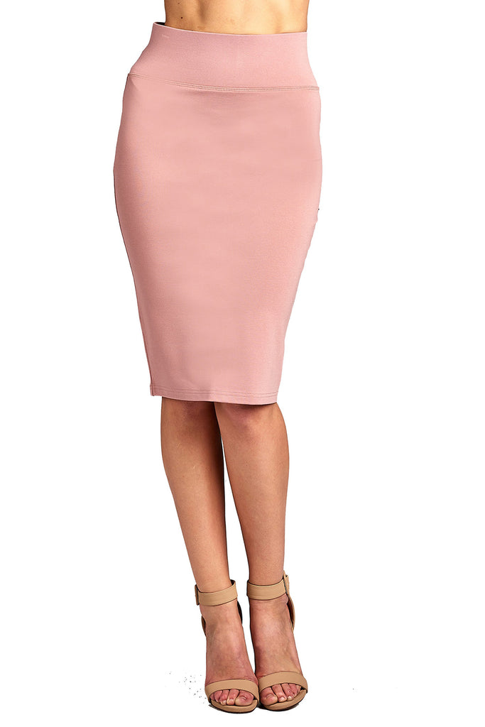 Women's High Rise Basic Long Bodycon Pencil Back Slit Skirt