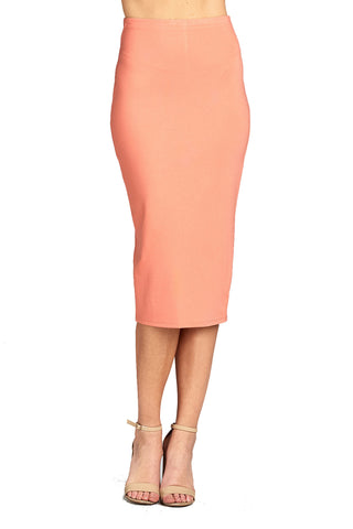Women's Basic Plain Long Bodycon Pencil with Slit Back Skirt