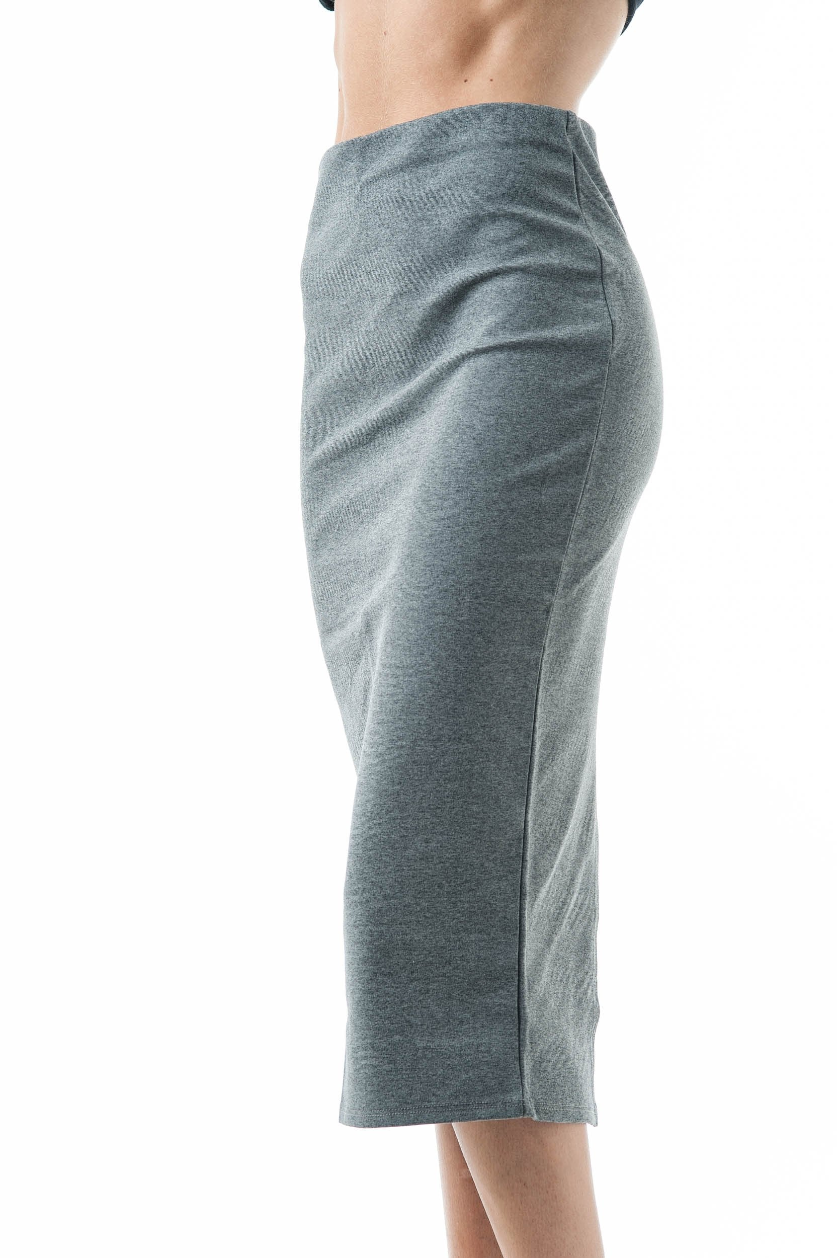 Basic Plain Long Bodycon Pencil Skirt with Slit on the Back