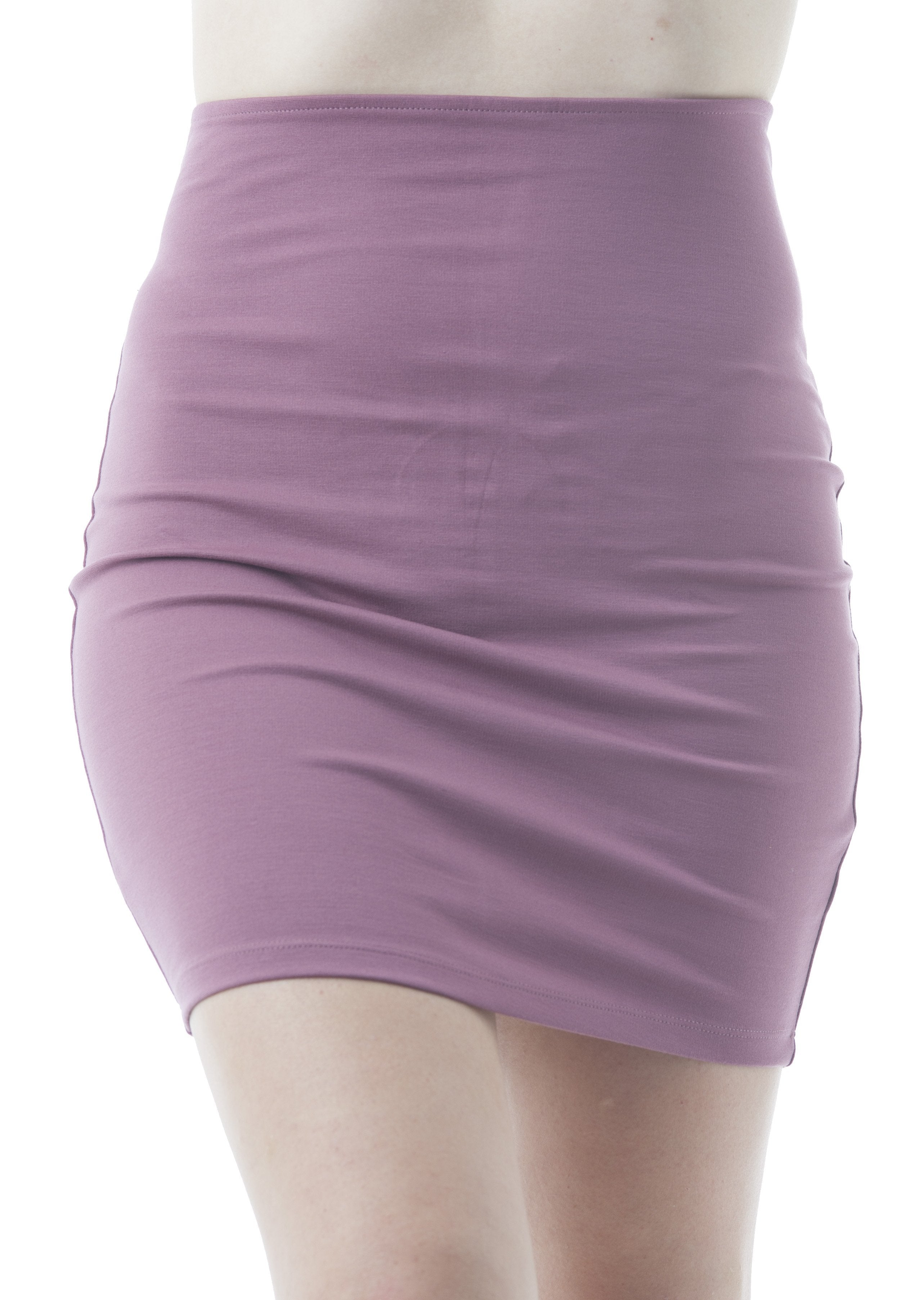 Plain Stretch Fitted Bodycon Mini Skirt With Back Zipper