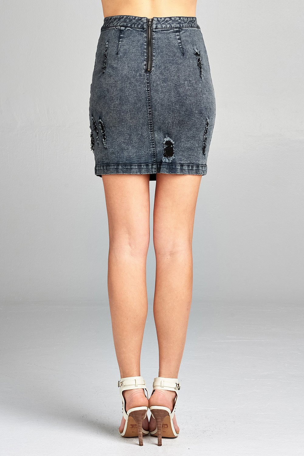 Khanomak Women's Stretch Distressed Faded Wash Denim Mini Skirt