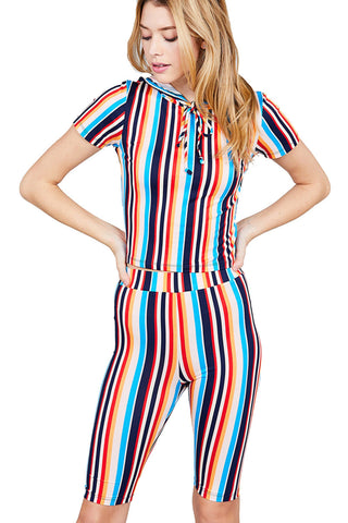 Women's Short Sleeve Multi Color Stripe Hoodie Top & Shorts