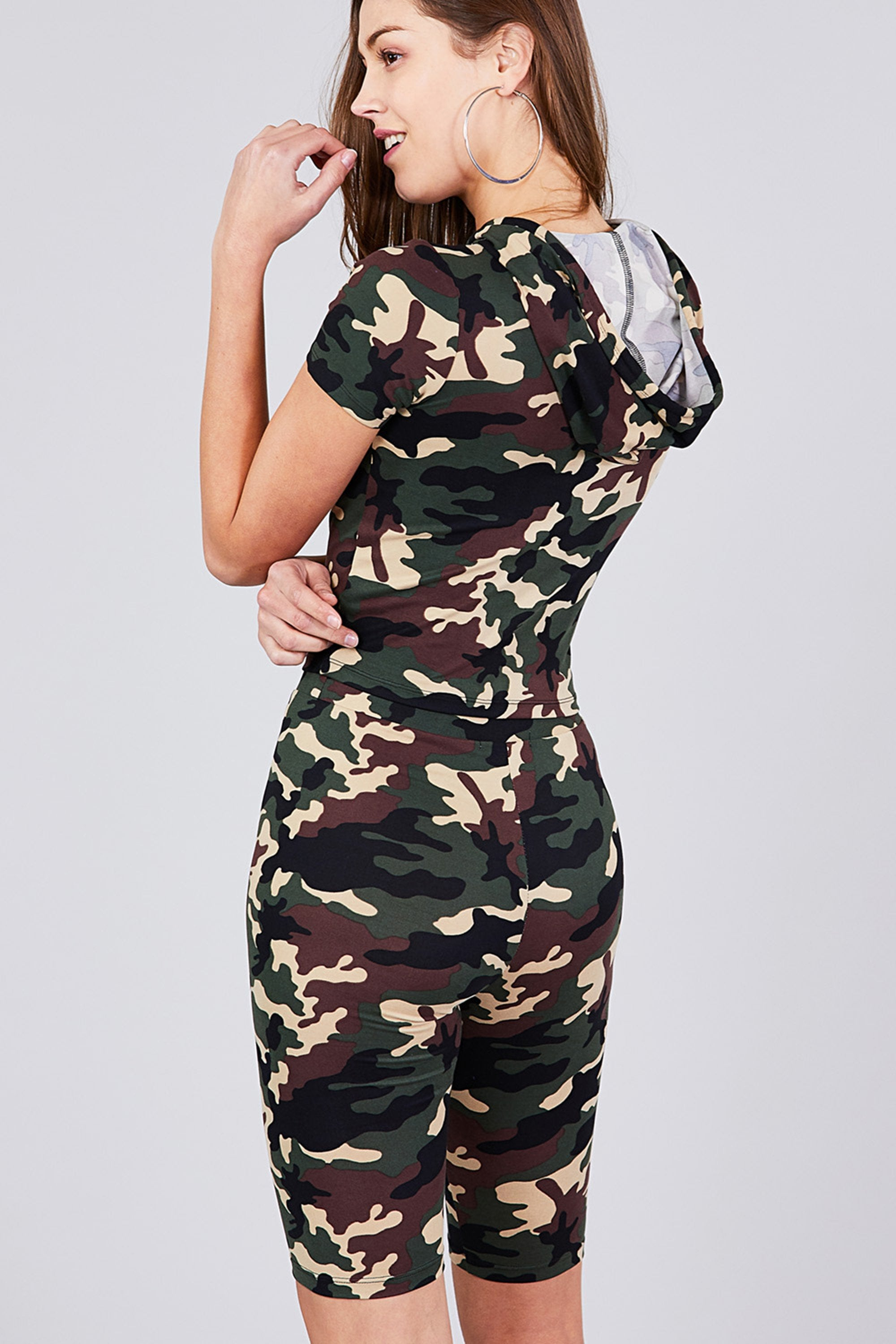 Women's Short Sleeve Camo Print Hoodie Top & Bermuda Set