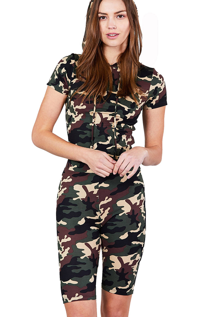 Women's Short Sleeve Camo Print Hoodie Top & Bermuda Shorts Set