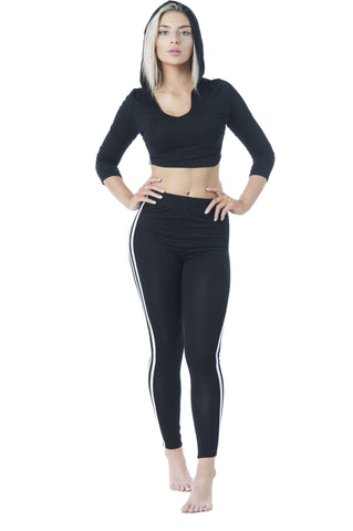 3/4 Sleeve Stripe V Neck Hoodie Crop Top & Legging Set