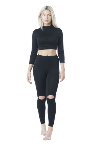3/4 Sleeve High Neck Crop Top & Knee Slits Legging Set