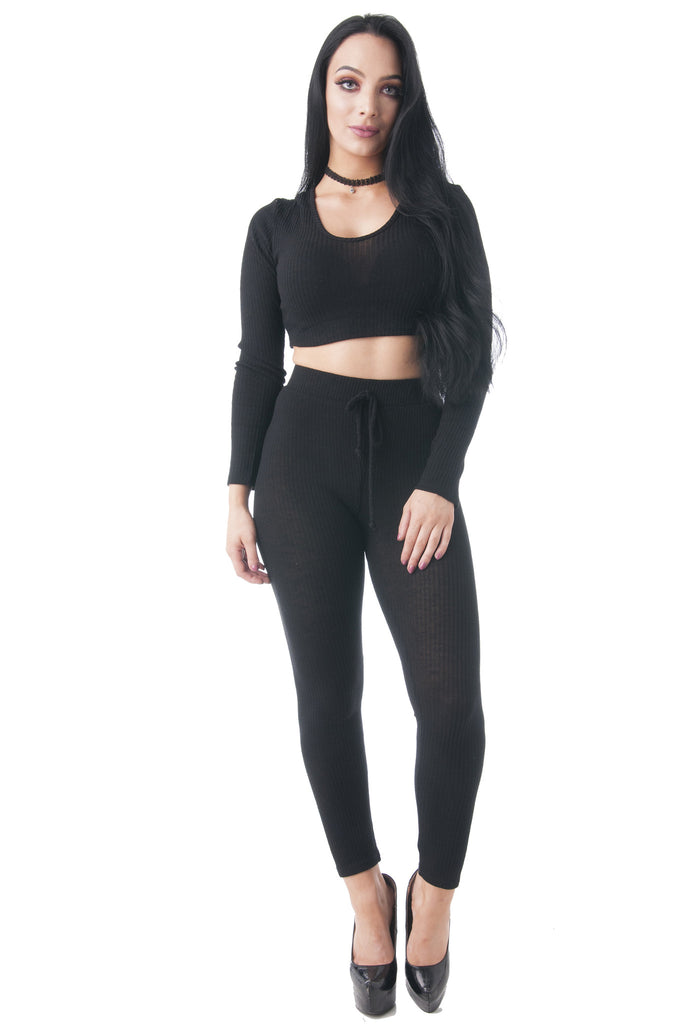 Long Sleeve Knit Ribbed Hoodie Crop Top & Leggings Set