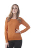 Long Sleeve Crewneck Knit Sweater Top With Button On the Sleeves