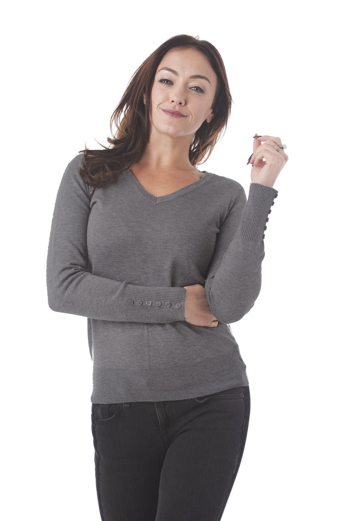Long Sleeve V Neck Knit Sweater Top With Buttons On The Sleeve