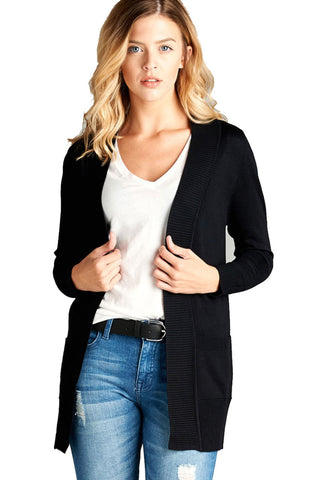 Women's Basic Longline Long Sleeve Open Front Sweater Cardigan Jacket