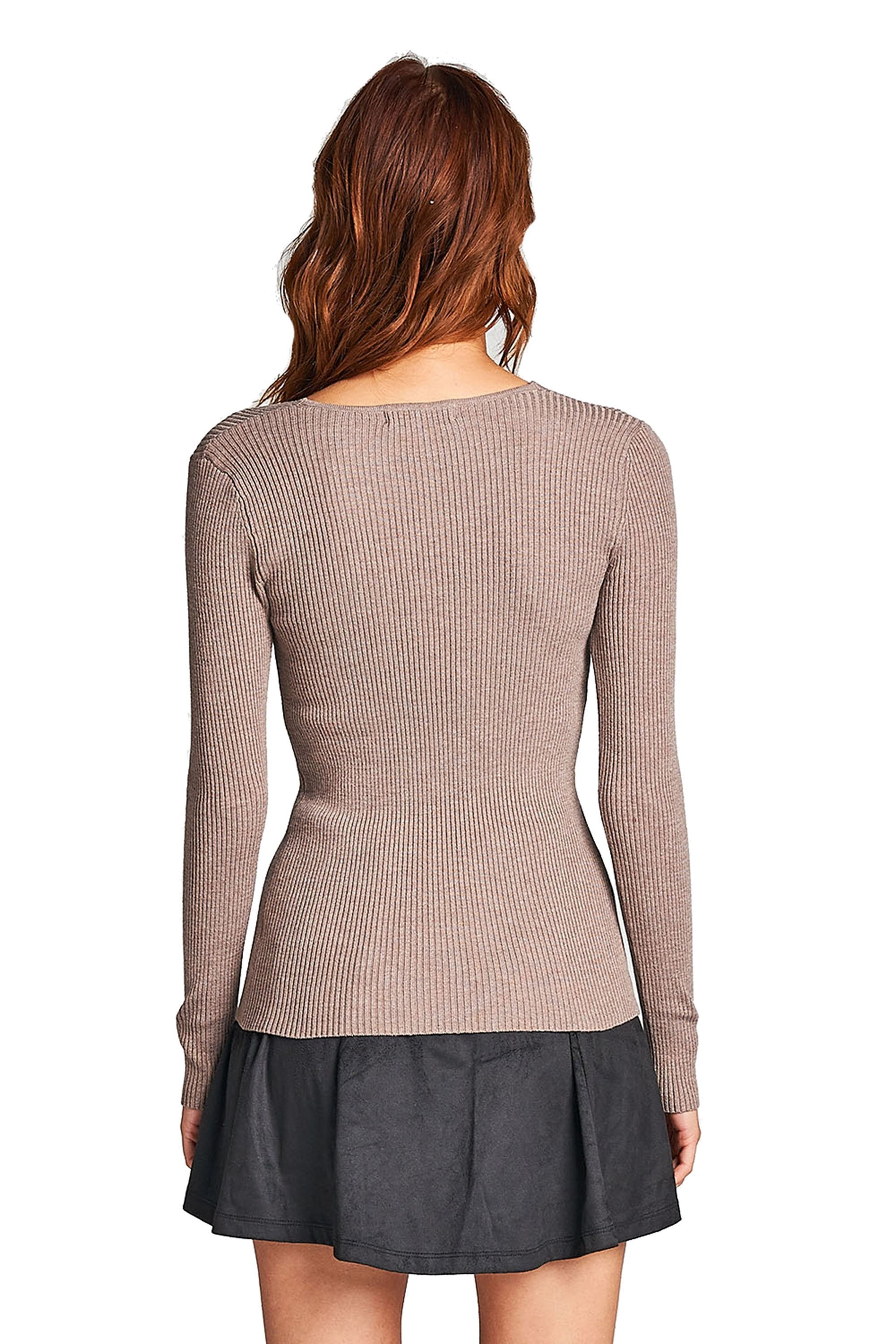 Plain Solid Stretch Fitted Long Sleeve V Neck Ribbed Knit Lightweight Sweater Top
