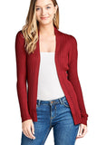 Khanomak Women's Plain Long Ribbed Open Front Long Sleeve Knit Cardigan Sweater