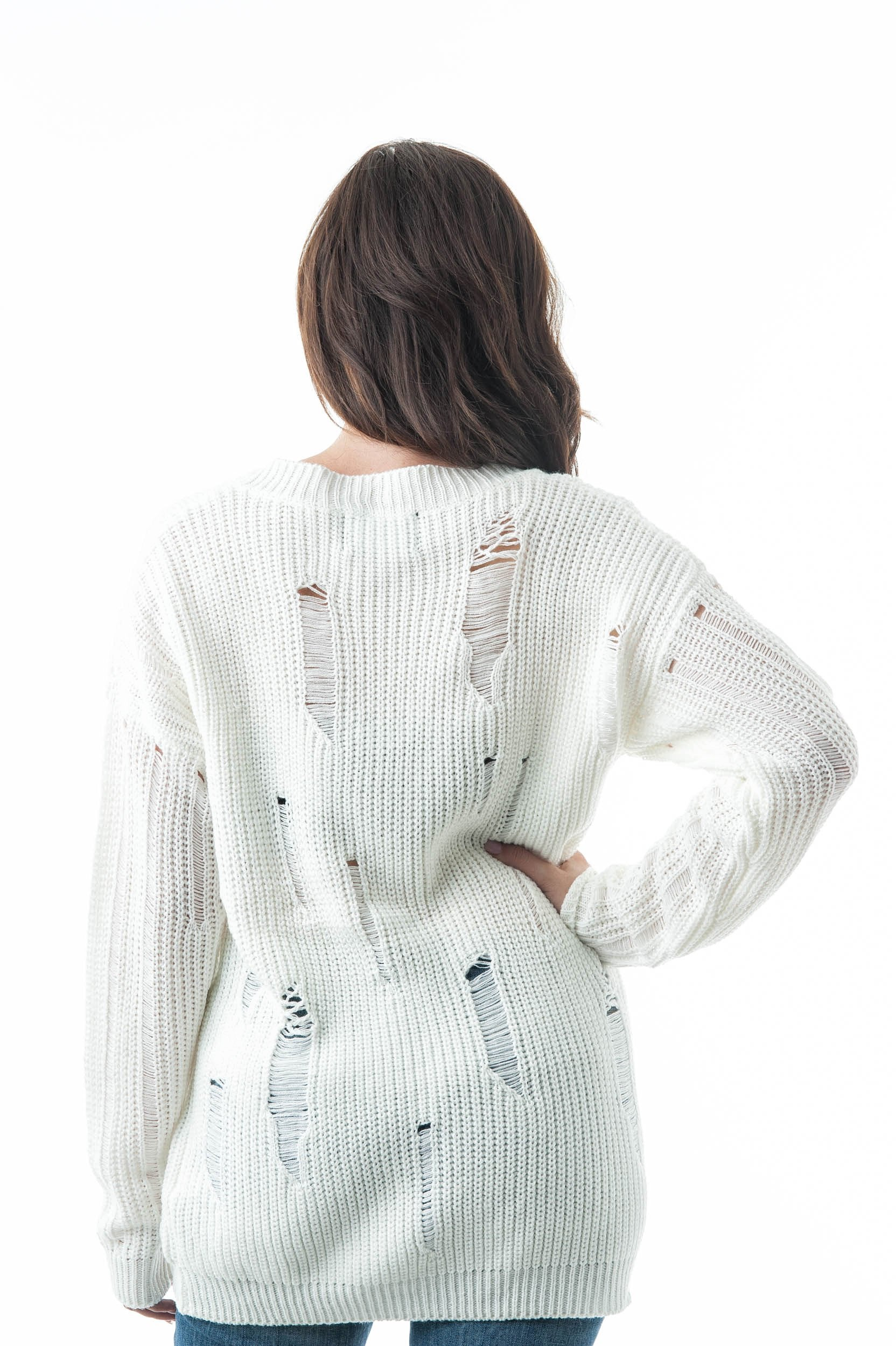 Long Dropped Sleeve V Neck Oversized Knit Distressed Sweater