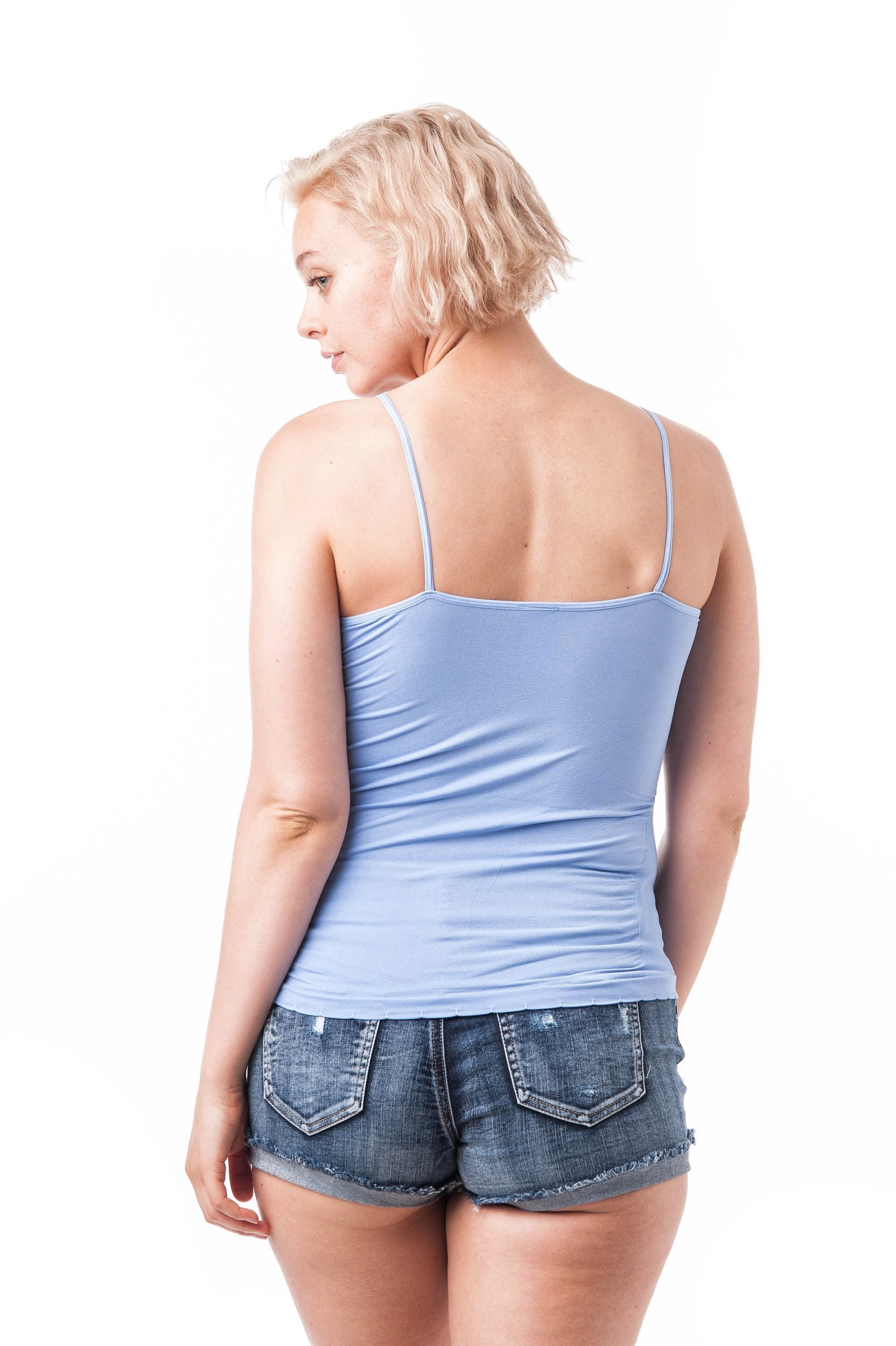 Plain Solid Spaghetti Strap Cami Ribbed Sides One Size Top