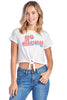"Women's Short Sleeve Crewneck Graphic ""Go Away"" Front Tie Crop T-Shirt Tee"