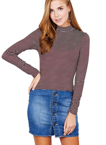 Khanomak Women's Super Soft Long Sleeve Striped Mock Neck Crop Top Shirt
