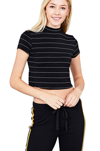 Women's Short Sleeve Stripe Mock Neck Casual Crop Top