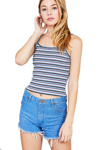 Women's Multi Color Stripe Straight Neckline Cami Crop Top