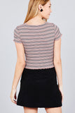 Short Sleeve Round Neck Lettuce Hem Multi Stripe Crop Top