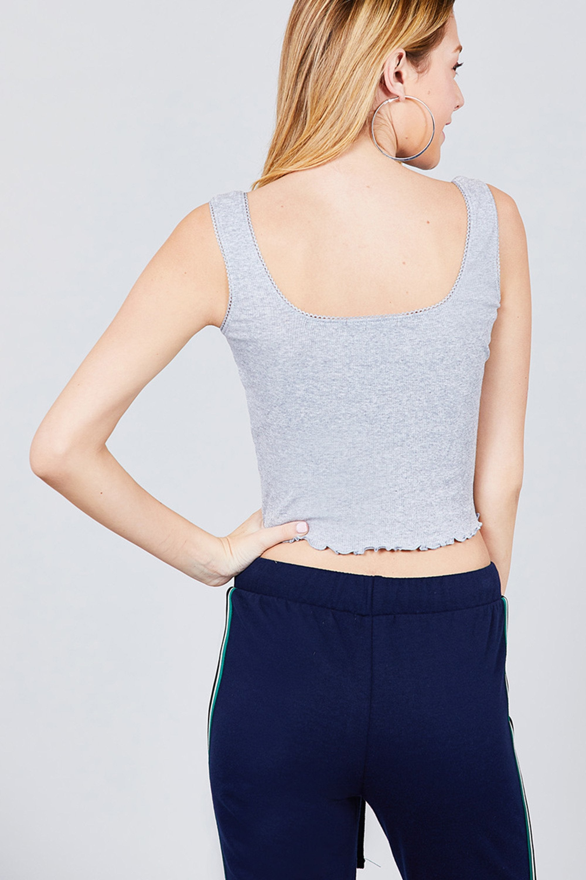 Double Scoop Neck With Lace Trim Lettuce Hem Crop Tank Top