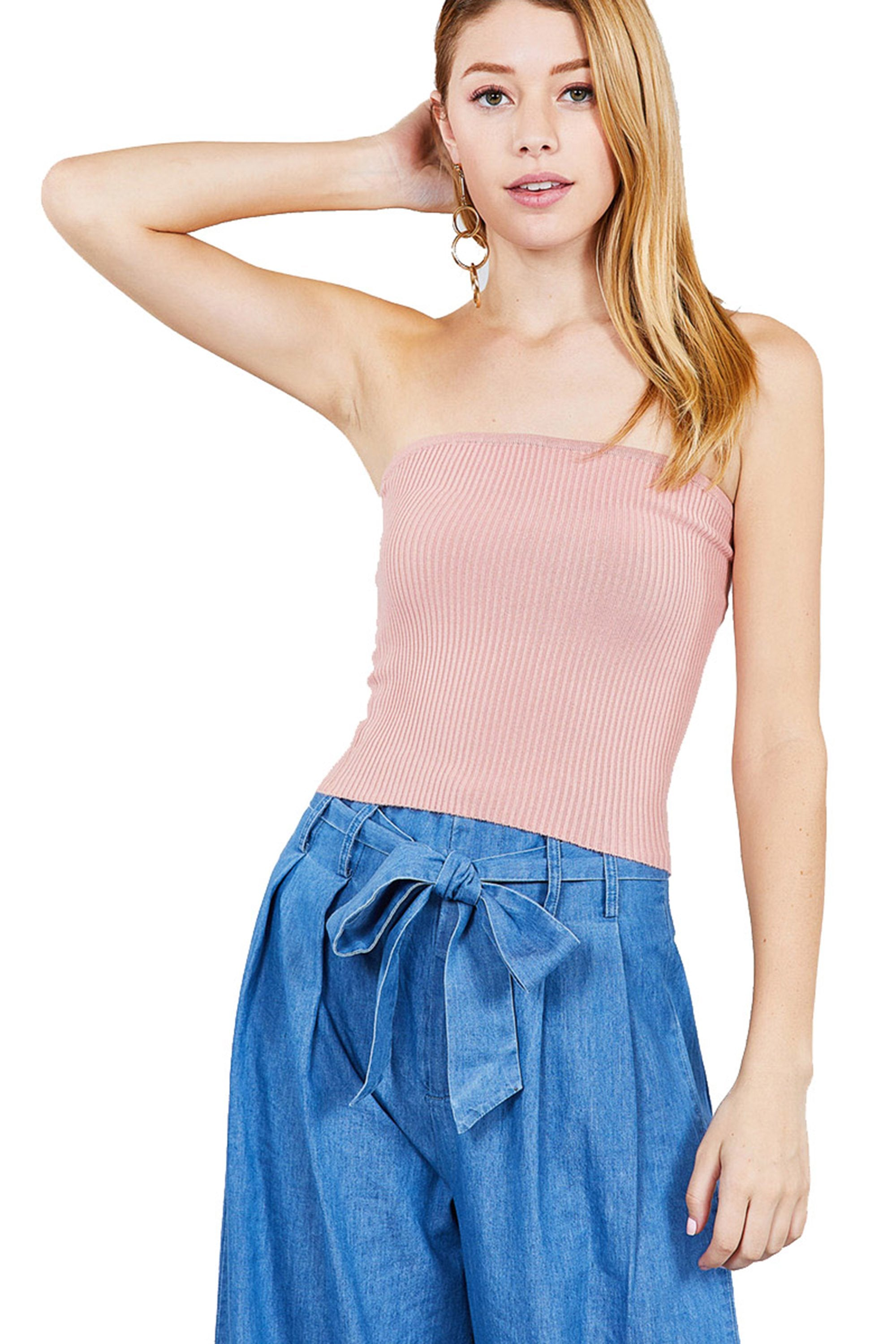 Khanomak Women's Casual Basic Rib Stretch Tube Sweater Crop top