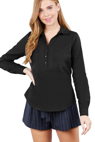 Khanomak Women'S 3/4 Roll Up Sleeve Front Pocket Button Detail Stretch Shirt