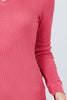 Cotton Blend Thermal V Neck Knit Top for women long sleeves