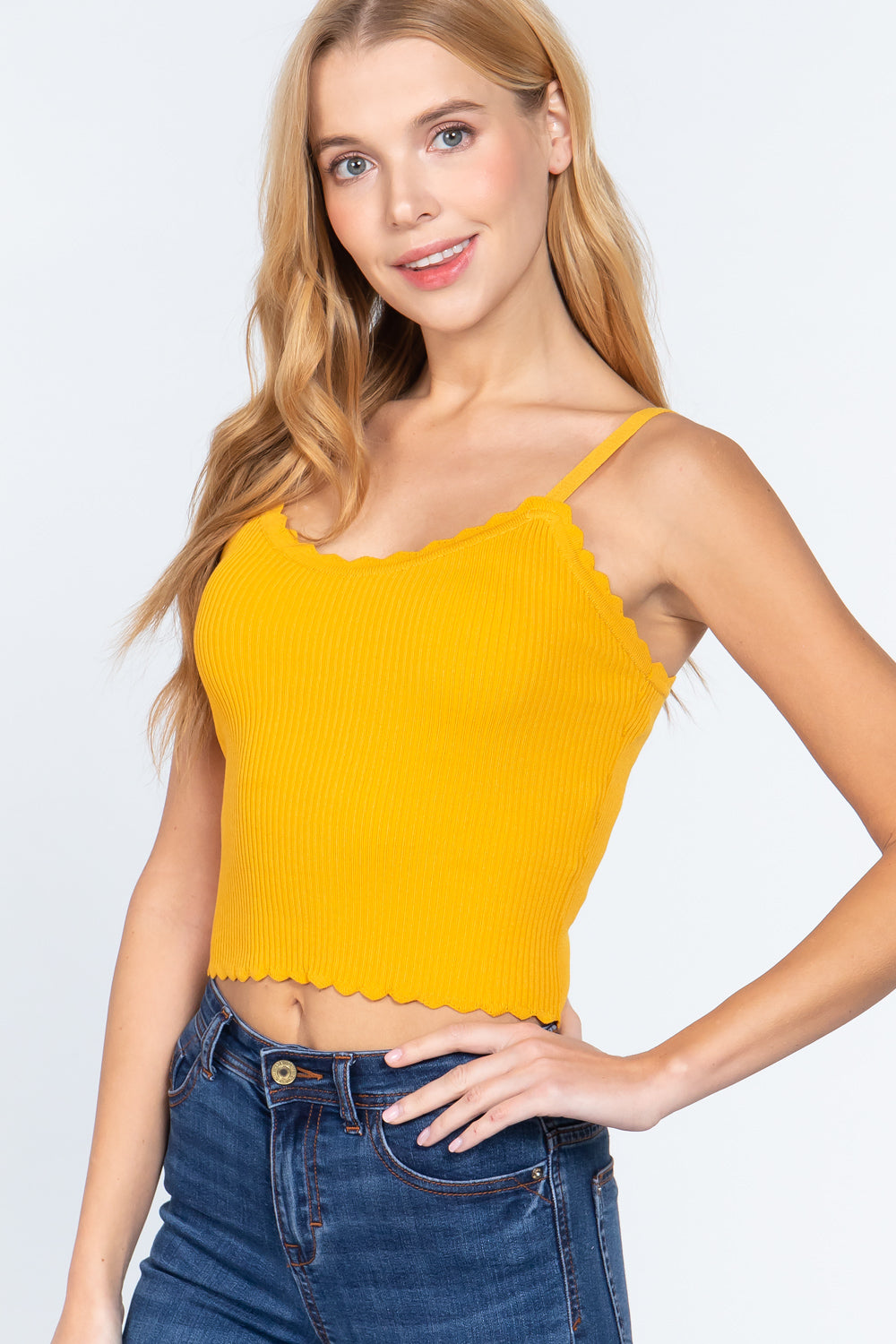 Women's V Neck Lace Trim Cami Sweater Crop Top